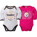 Pittsburgh Steelers 2 Piece Long Sleeve Pink and White Onesies