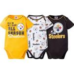 Pittsburgh Steelers 3 Piece Black Gold and White Onesies