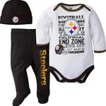 Pittsburgh Steelers 3 Piece Onesie, Pants, and Cap