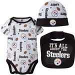 Pittsburgh Steelers 3pc Onsie, Bib, and Cap