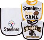 Pittsburgh Steelers 3 Piece set Bibs and Burp Cloth